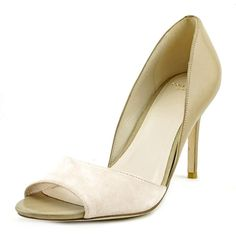 Cole Haan Women's Antonia Ot Pump,Seashell Pink Suede/Cremini,10 B US. Two-tone d'Orsay pump with open toe and sculpted heel. Grand.OS technology for comfort.