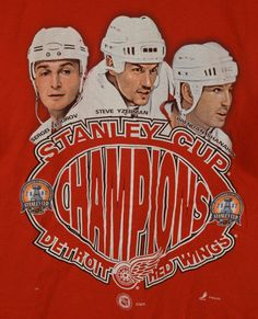 Detroit Red Wings 2002 NHL Stanley Cup Champions Shirt Large 42-44 Fedorov Red #Hanes #GraphicTee