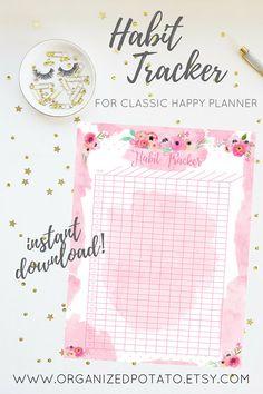 Habit Tracker Pink Floral Watercolor Printable Insert Series #printable #plannerprintable #watercolor #floral #pink #girly #glam #instantdownload #pdf #organization #organizedpotato #DIY #homebinder #happyplanner #erincondren #bujo #bulletjournal #travelersnotebook #filofax #kikkik #katespade #glitter #plannergirl #plannerDIY #plannerideas #TN #foxyfix #fauxdori #modori #eyelashes #lashes #bujoideas #bulletjournalideas #bujoinspo #goals #tracker #goaltracking #habittracker #habits…