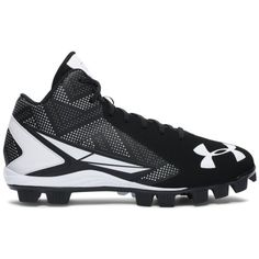 Under Armour Men's UA Leadoff Mid RM Baseball Cleats ($45) ❤ liked on Polyvore featuring men's fashion, men's shoes and black
