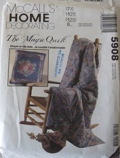 Sewing Pattern McCall's Home Decorating 5908 / The Magic Quilt / Vintage from 1992