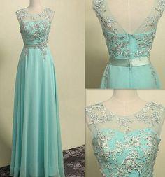 2017 Custom Charming Prom Dress,O-Neck Prom Dress,A-Line Prom Dress,Appliques Prom Dress,Chiffon Prom Dress