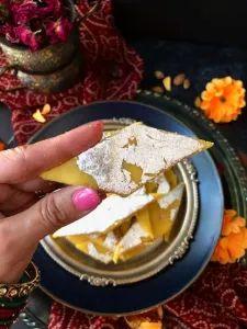 Badam Katli/Almond Flour Barfi in 3 minutes – Food, Fitness, Beauty and More Egg Free Desserts, Eggless Desserts, Indian Desserts, Holi Recipes, Diwali Recipes, Easy Indian Recipes, Ethnic Recipes, Diwali Food, American Kitchen