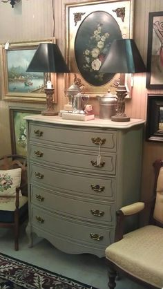 Great new 5-drawer chest painted with Annie Sloan French Linen in my antique booth