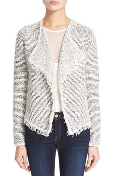 Joie 'Ulrika' Drape Front Stripe Fringe Jacket cotton/acrylic/poly chalk/caviar szS 25L 388.00