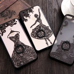 Fundas Phone Cases for iPhone 7 6 6S Plus Beauty Lace Dresses Henna Floral Paisley Mandala Flowers Cover With Finger Ring Holder