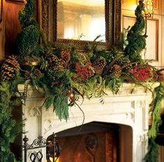 winter mantel with pine and naturals
