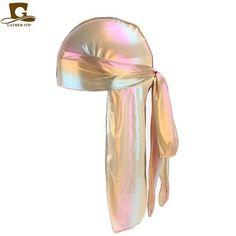 a69a339d4643e Men s Sparkly Silk Durag Bandana Headwear colorful Men du rag