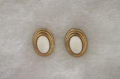 Vintage Avon Tailored Black Enamel Oval Button Pierced Earrings Goldtone