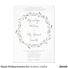 Elegant Wedding Invitation Grey Floral Wreath