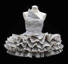 Recycled dress constructed from phone book pages - about the only valid use for them these days...