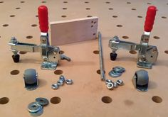 Here are the components needed for the router fence guide wheels. Lee Valley stocks the DeStaco clamps.