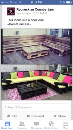 Cheap way for a make shift couch and coffee table - totes want to do this