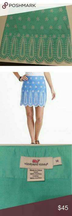 """Scalloped Vineyard Vines Embroidered Skirt Preppy skirt from Vineyard Vines in excellent used condition! Covered in white embroidery and scalloped edges. Gorgeous Tiffany blue/seafoam green color (stock image is not of actual product color).Measures about 18"""" long, is a comfortable mid length. Size 14, fits a little snug but not a whole size down. Vineyard Vines Skirts"""
