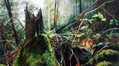 Georgia Dodson, MA Fine Art One of Georgia's Forest Floor paintings