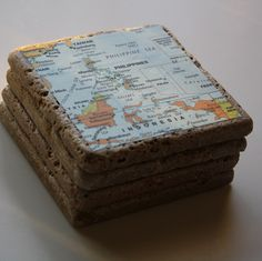 Memory Lane Coasters: maps of where you've been, modge podge and stone tiles