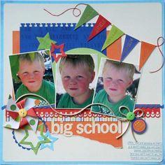 3 photo 1 page  School scrapbook layout