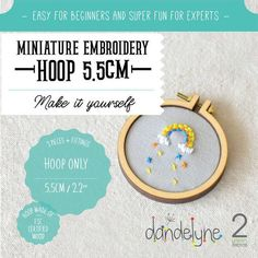 miniature embroidery hoop frame DIY kit - hoop frame set ONLY - unique Dandelyne miniature hoop Cool Hats, Diy Frame, Craft Party, Embroidery Thread, Diy Kits, Something To Do, Applique, Miniatures