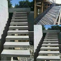 from - Escada em bal Entryway Stairs, Wood Staircase, Floating Staircase, Exterior Stairs, House Stairs, Indoor Stair Railing, Stair Railing Design, Patio Steps, Concrete Stairs