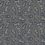 Seamless Paisley pattern in gold on dark blue background. Vintage hand drawn vector illustration