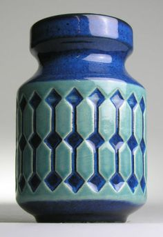 Jasba West German Pottery Ceramic Modernistic 20 Mid Century Vintage Retro Blue | eBay