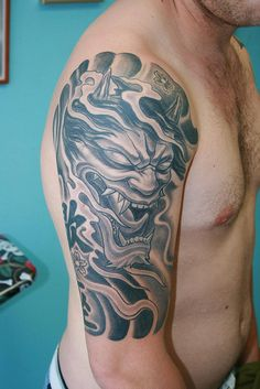 Right Half Sleeve Grey Ink Hannya Tattoo Japanese Demon Tattoo, Japanese Sleeve Tattoos, Boys With Tattoos, Half Sleeve Tattoos For Guys, Mens Sleeve Tattoo Designs, Tattoo Designs Men, Tattoo Sleeves, Beautiful Boys, Watercolor Backgrounds