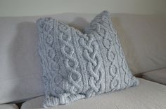 Knitted pillow cover made from sweater vintage by sewafineseam