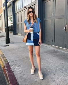 Pin for Later: Your Ultimate Guide to Mastering Denim on Denim Once and For All A Chambray Top With a Patchwork Denim Skirt