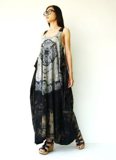 NO.108 Black, Grey and Brown Cotton Jersey Low Neck Lace Printed Racerback Sleeveless Dress on Etsy, $48.00