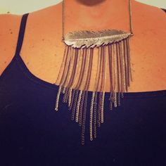 ✨✨Silver Statement Necklace✨✨ This necklace makes any outfit standout very striking, with its multicolored strands of chains to the beautiful feather with stone accents!! American Eagle Outfitters Jewelry Necklaces