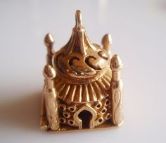 Large 9ct Gold Enamel Buddha and Temple Charm - hallmarked FM London Year 1962