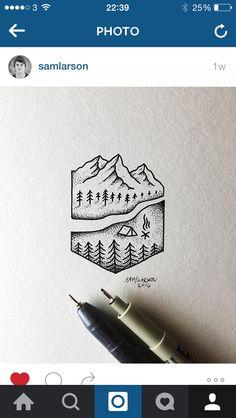 Arty mountain pen drawing