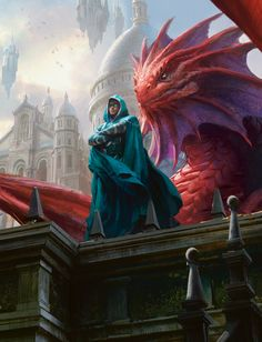 Planeswalker Wizard and Red Dragon