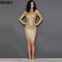 MUXU Night Club Dresses New Year Sexy Sequin Dress Bodycon New Fashion Long Sleeve Bodycon Gold sequin dress jurk ropa mujer