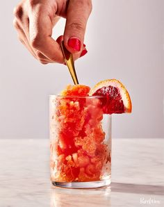 3-Ingredient Blood Orange Granita #purewow #purewowdrinks #cocktails #bloodorange #drinks