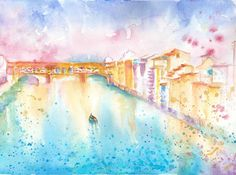 Florence Original Watercolour Painting Italy River by FishbirdArt