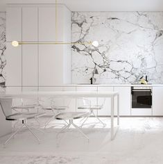 statement marble wall, dining table in kitchen, clean, minimal, rad light