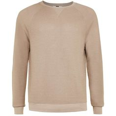 TOPMAN Tan Waffle Textured Long Sleeve T-Shirt (2630 RSD) ❤ liked on Polyvore featuring men's fashion, men's clothing, men's shirts, men's t-shirts, brown, mens longsleeve shirts, mens waffle shirt, mens french cuff shirts, mens crew neck t shirts and mens brown shirt