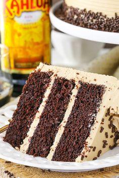 Kahlua Coffee Chocolate Layer Cake - moist soft chocolate cake with Kahlua coffee frosting! Kahlua Coffee Chocolate Layer Cake - moist soft chocolate cake with Kahlua coffee frosting! Best Chocolate, Chocolate Coffee, Homemade Chocolate, Food Cakes, Cupcake Cakes, Just Desserts, Dessert Recipes, Kahlua Cake, Kahlua Chocolate Cake