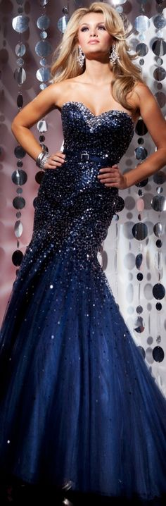 Sparkly navy blue dress.