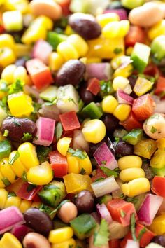 This Mexican Corn and Bean Salad is wonderful with chips for potlucks and makes a fabulous side for sandwiches and grilled entreés. Corn And Bean Salad, Mexican Bean Salad, 3 Bean Salad, Black Bean Salad Recipe, Mexican Salads, Three Bean Salad, Mexican Corn, Green Bean Salads, Mexican Food Recipes