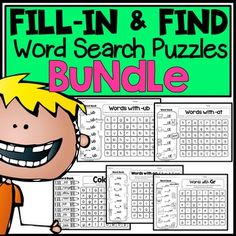 Word Search Bundle: Fill-in and Find Phonics Puzzles Smart Board Activities, Creative Activities, Science Activities, Bell Work, Vocabulary Practice, Word Search Puzzles, Early Finishers, Morning Work, English Vocabulary
