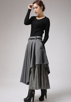 Long Gray Skirt - Tea Length Skirt - Warm Winter Skirt - Houndstooth - Winter Fashion - Wool Clothes - Black and White - Warm Gray Wool up your wardrobe with this gray and houndstooth layered women's skirt from Xiaolizi. Designed in artis Boho Fashion, Winter Fashion, Fashion Design, Fashion Women, Cheap Fashion, High Fashion, Fashion Trends, Dress Skirt, Midi Skirt