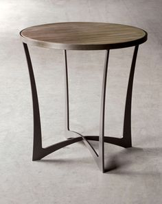 "Charleston Forge ""Lotus"" End Table w/wood top & charcoal iron base"