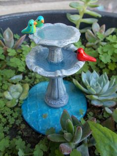 Enchanting miniature, tiered bird bath with realistic looking water. Bring some of that secret garden feel to your fairy garden or miniature