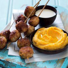 Chicken koftas, butter bean hummus and dip - MyKitchen Hummus Dip, Roasting Tins, Butter Beans, Honey Lemon, Chicken Sausage, Meatball, Skewers, Starters, Sour Cream
