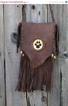 ON SALE Wolf paw handbag Fringed leather handbag by thunderrose