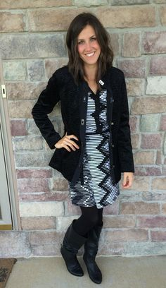 Black and White Dress, Black Jacket, Black Tights, Black Wedge Boots
