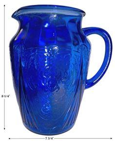 pitcher, cobalt lace depression glass