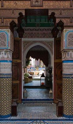 Morocco,,,,Islamic architecture reveals the excellence of Islam Renaissance at that time Moroccan Design, Moroccan Decor, Moroccan Style, Moroccan Interiors, Islamic Architecture, Art And Architecture, Portal, Mekka, Kitchen Design Open